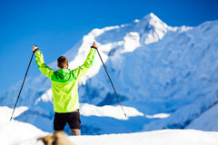 Successful Man hiking in Himalaya Mountains in Nepal Royalty Free Stock Photo