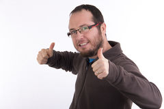 Successful man holding thumbs up Royalty Free Stock Photos