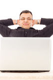 Successful man with job over internet resting in peace next to h Royalty Free Stock Images