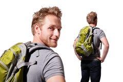 Successful man mountain hiker Stock Photos