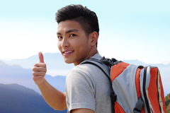 Successful man mountain hiker Stock Images