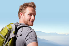 Successful man mountain hiker Royalty Free Stock Image