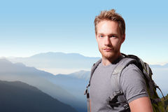Successful man mountain hiker Royalty Free Stock Photography