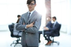 Successful man at the office leading a business team stock image