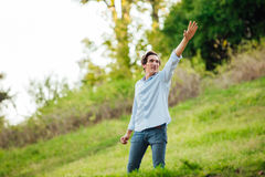 Successful man with open arms celebrating Stock Images