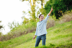 Successful man with open arms celebrating Royalty Free Stock Image
