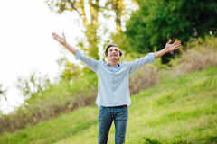 Successful man with open arms celebrating Royalty Free Stock Images