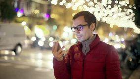 Successful Man With Phone in City Street stock footage
