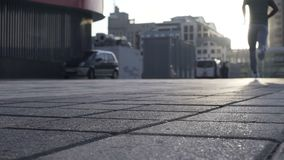 Successful man slowly runs towards sunlight, encouragement to follow dreams. Stock footage stock video