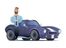 Successful man standing in front of a sports car. Seller or owner of a automobile. VCartoon style  illutration. Successful man standing in front of a sports car Stock Photo