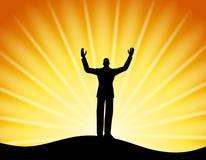 Successful Man Standing Sun Rays vector illustration