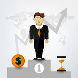 A Successful man in Suit on Pedestal Stock Image