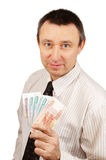 Successful man whith money Stock Photography