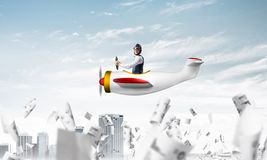 Successful management and information analysing. Concept with funny pilot. Aviator driving propeller plane above falling paper sheets with diagrams. Young man vector illustration