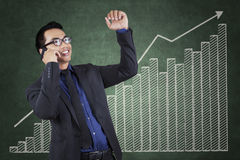 Successful manager with business growth chart Royalty Free Stock Photos