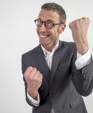 Successful manager enjoying corporate announcement expressed with fun and humor Stock Photography