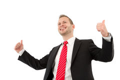 Successful manager - man isolated on white background. Successful manager thumbs up with two hands isolated on white royalty free stock image