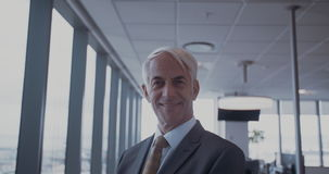 Successful mature businessman in office stock video footage