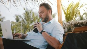 Successful middle aged male freelancer enjoying fruit drink in lounge chair on summer beach while typing on laptop. Confident happy independent entrepreneur stock footage