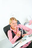 Successful modern business woman counting money Royalty Free Stock Photo