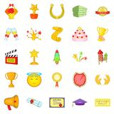 Successful movie icons set, cartoon style Royalty Free Stock Images