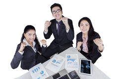 Successful multiracial workers in a meeting Stock Photo