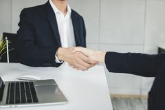 Successful negotiate or corporation of partnership, people hands. Shake royalty free stock image