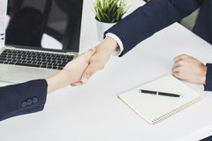 Successful negotiate or corporation of partnership, people hands. Shake royalty free stock photo