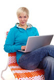 Successful notebook woman looking into camera Stock Images
