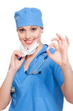 Successful nurse showing ok sign Stock Photos