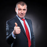 Successful old business man making the ok sign Royalty Free Stock Image