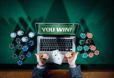 Successful online poker player stock image