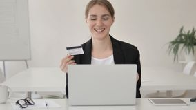 Successful Online Shopping by Young Businesswoman on Laptop stock video