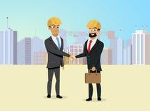 Partners Handshaking on Construction Site Vector vector illustration