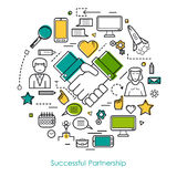 Successful Partnership Line Concept. Vector Round Concept of Successful Partnership Thin Lines Stock Images