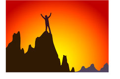 Successful people. At the top of the mountain to celebrate the victory stock illustration