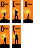 Successful people. Outdoor adventure, and conquer the mountains Royalty Free Illustration