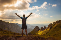 Successful people Concept sport, motivation, inspiration. Silhouette of successful man on the top of mountain. Concept of sport motivation inspiration Royalty Free Stock Photography