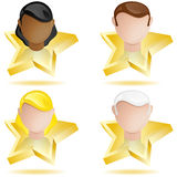 Successful People Head on Golden Star Stock Photo