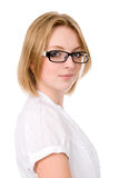 Successful portrait of beautiful girl in glasses Royalty Free Stock Image