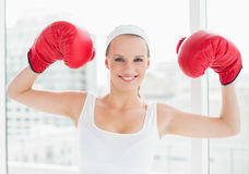 Successful pretty sportswoman raising her boxing gloves Royalty Free Stock Photography