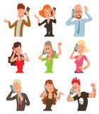 Successful professional business people talking his cell phone vector illustration Stock Images