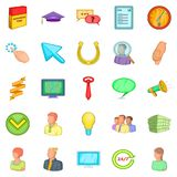 Successful promotion icons set, cartoon style Royalty Free Stock Images