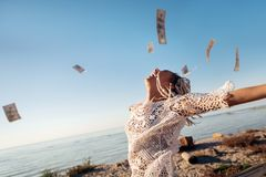 Free Successful Prosperous Freelancer Throwing Her Money In The Air Royalty Free Stock Images - 131024039