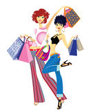 Successful purchase. Colorful  illustration of cheerful women with purchases in shop Stock Photo