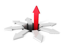 Successful Red Arrow Rising Up From Crisis Hole. Business Concep. T 3d Render Illustration Stock Photos