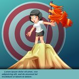 She is successful with red flag on hill top. vector illustration