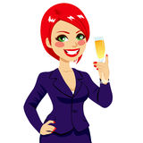 Successful Red Haired Businesswoman Toasting Royalty Free Stock Image