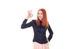 Successful redhead woman showing OK sign Royalty Free Stock Images