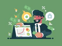 Successful and rich trader Stock Image